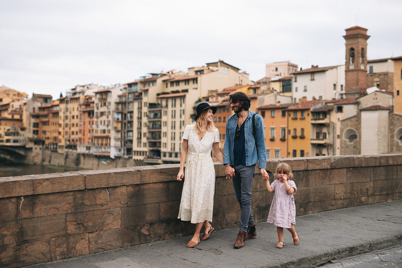 Italian Family walking on the Ponte Vecchio, Firenze