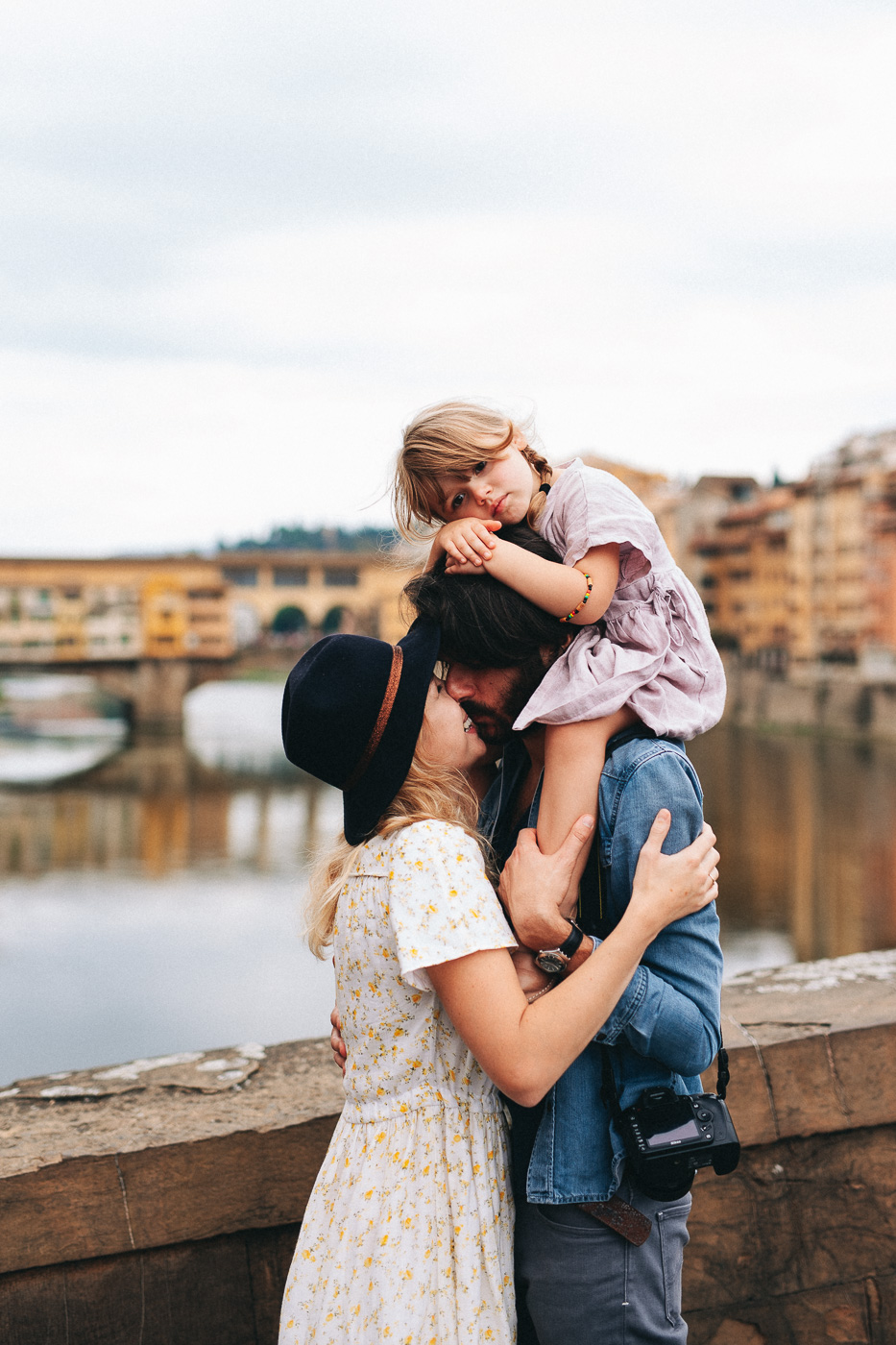 Family Photoshoot in Florence, Italy, Ponte Vecchio old bridge